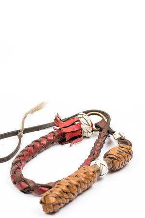 kinky: Leather whip isolated over white background closeup macro.
