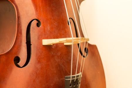 Contrabass wooden instrument details. Accoustic bass instrument.