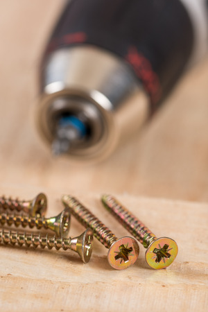 Accu drill with pile of metal screws.