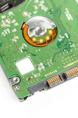 Closeup macro electronic sata lap top hard disc. Stock Photo