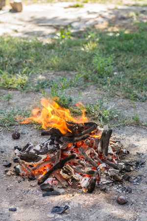 freezed: Campfire ready for barbecue. Freezed action fire on the soil. Stock Photo