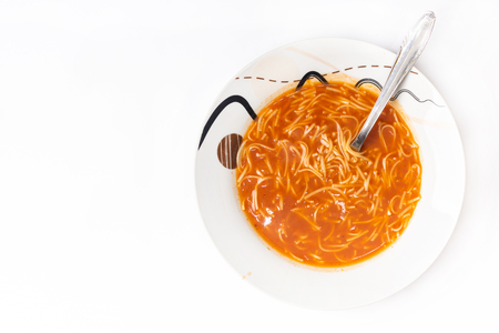Flat lay above tomato soup isolated above white background Stok Fotoğraf