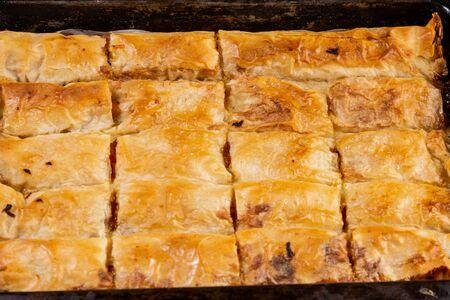 Homemade delicious pumpking pie in the baking tray. Banco de Imagens