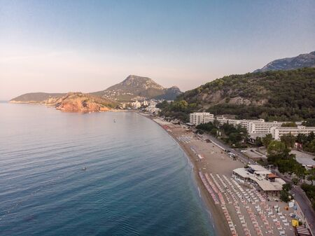 Aerial view of beach and hotels at Sutomore Montenegro.