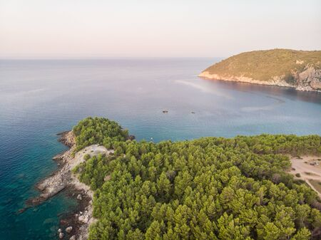 Beautiful aerial scenic view of adriatic sea with forests on the land. Zdjęcie Seryjne