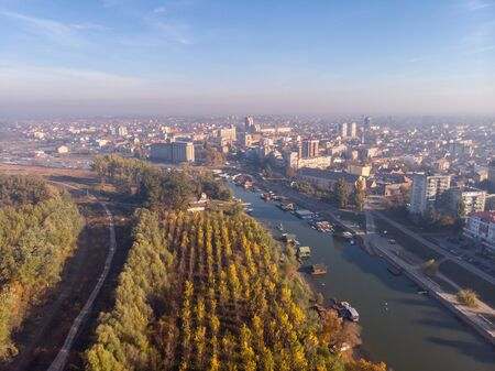 Amazing aerial drone photography with city in the background.