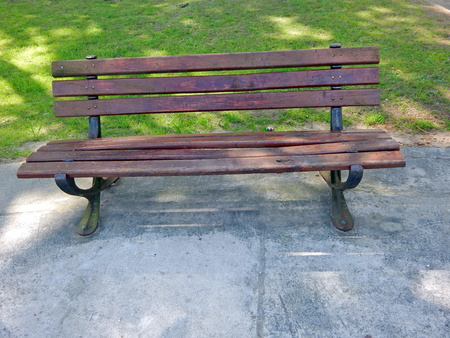 wooden bench in the square