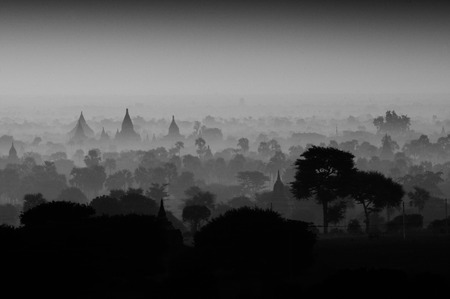 Twilight sky in thousand pagodas of Bagan, Myanmar monochrome. Stok Fotoğraf