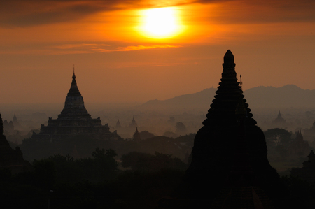 Twilight sky in thousand pagodas of Bagan, Myanmar.