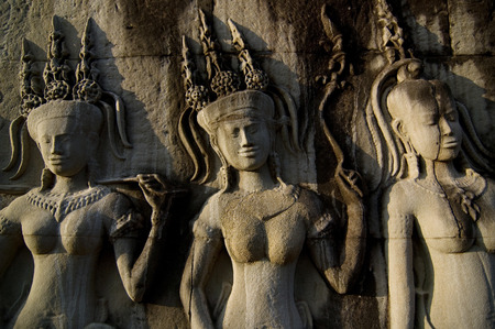 Angkor Wat is a beautiful and ancient art of Cambodia. Reklamní fotografie - 111359259