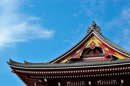 The Japanese temple roof is unique. Beautiful sky