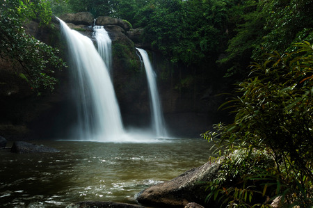 Haew Suwat Waterfall is beautiful in Khao Yai National Park Thailand. Stok Fotoğraf
