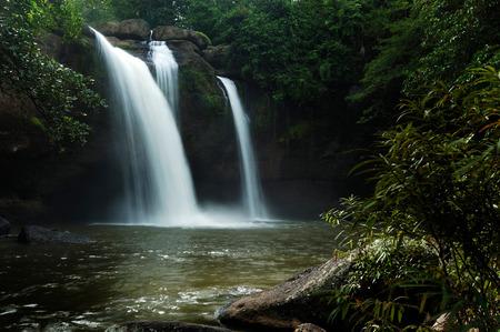 Haew Suwat Waterfall is beautiful in Khao Yai National Park Thailand. Standard-Bild
