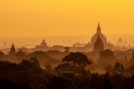 Amazing sunrise with the ancient architecture of a thousand Pagodas in Bagan Kingdom, Myanmar