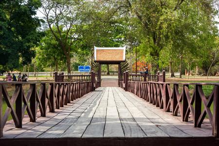 Wooden bridge in Ayutthaya Historical Park, Ayutthaya, Thailand Stock Photo