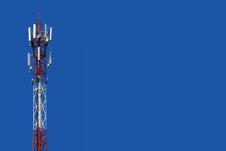 Radio tower on a turquoise background  telephone tower Stockfoto