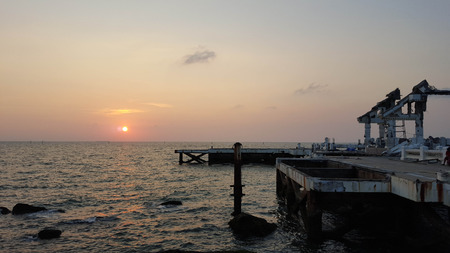 collapsed: collapsed building on the sea at Bangsaen Stock Photo