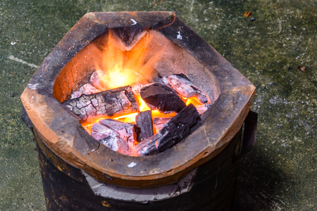 stove fire: Stove with fire