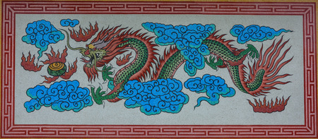tradition: Tradition Chinese dragon painting Stock Photo