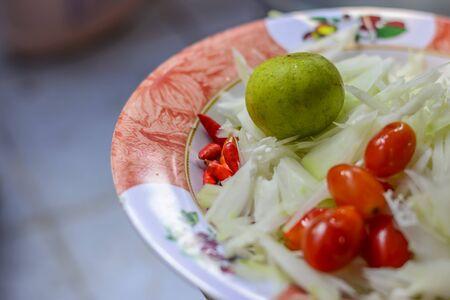 materia prima: Raw material to make papaya salad , Thai tradition food