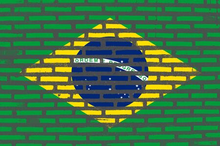 old flag: Flag of Brazil, Brazil banner on brick texture