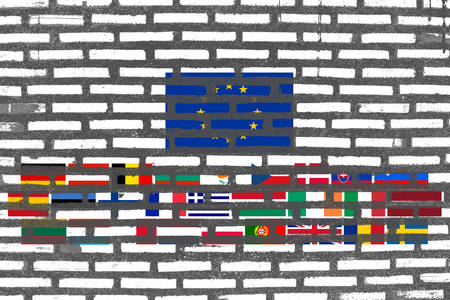 brick texture: Flag of EU, EU banner on brick texture Stock Photo