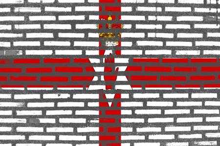 northern ireland: Flag of Northern Ireland, Northern Ireland banner on brick texture