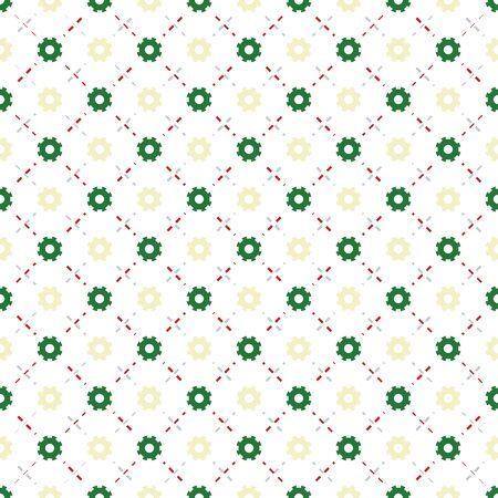 dashed line: Green gear shape pattern background. Dashed line background.