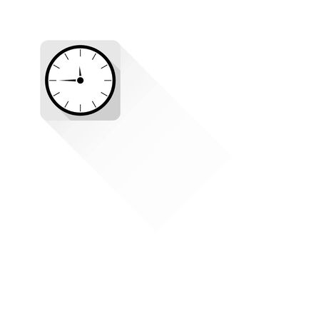 analog clock: Flat design analog clock on the wall. Clock vector background.