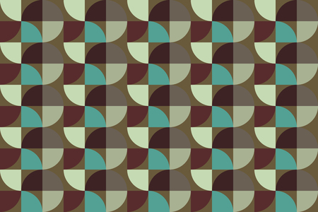 quarter: Vintage color quarter circle pattern background. Seamless vector pattern. Geometric shape vector.