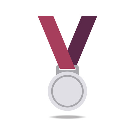 silver medal: Silver blank award medals with ribbons. Medal vector. Silver medal icon.