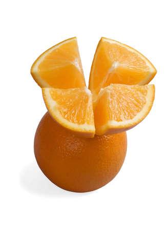 whole orange with cut half above isolated on white photo