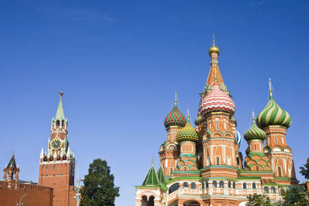 St. Basil Cathedral and Spasskaya tower in Moscow Russia photo