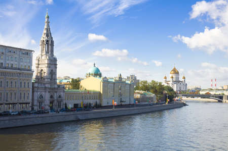 multy:  The Moskva river embankment  Cityscape of Moscow, Russia