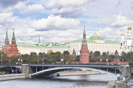 multy: Russian Moscow Kremlin. bridge and the Moskva river