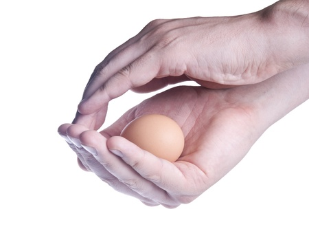 Egg in hands (concept of protection) isolated over white photo