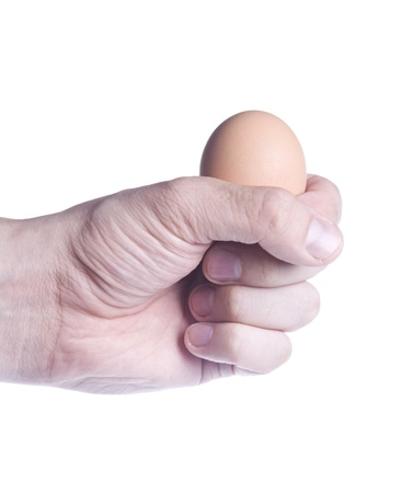 fragility: Egg in fist (concept of fragility) isolated over white