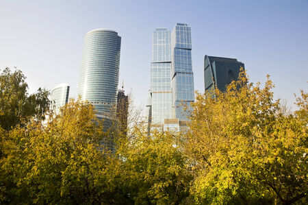 View of the Scyscrapers in the Moscow-city, Russian capital photo