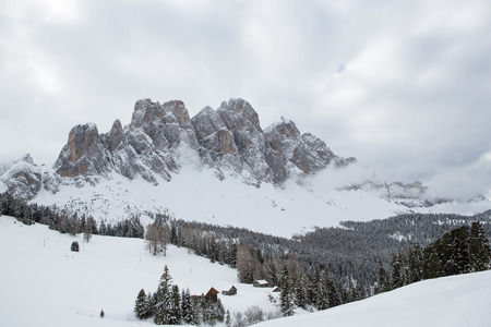 odle: Winter landscape in the Odle (Italy)