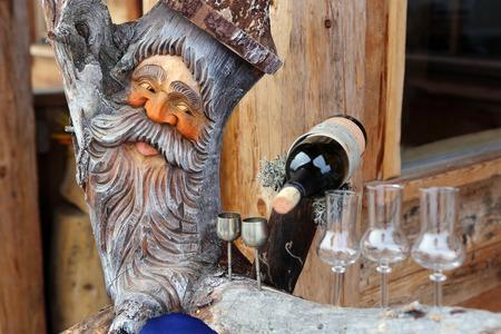 gnome: Wine with gnome Stock Photo
