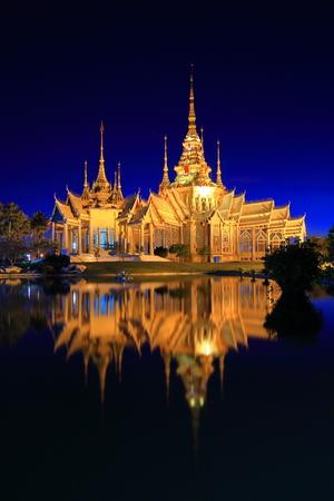 none: Landmark wat thai,Twilight view of Wat None Kum in Nakhon Ratchasima province Thailand