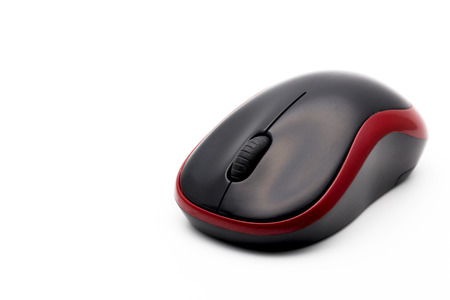 Wireless computer mouse isolated on white background selective focus Stock Photo