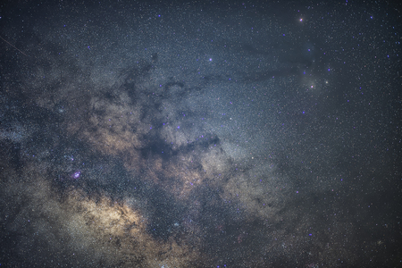 panoramic sky: Milky way in Thailand Stock Photo