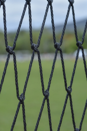 sideline: Rear view of soccer goal net with green at background out of focus
