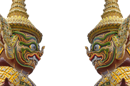 ramayana: the side of face of Ramayana in the Buddha temple at Bangkok,Thailand with the white background