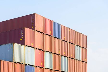 blue steel: The stack of container in the ship yard at the port before export process Stock Photo
