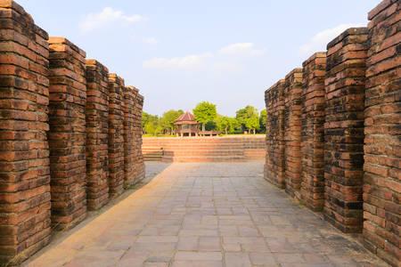 broken hill: ancient walkway brick in Ancient temple at Ayuthaya world heritage ,Thailand