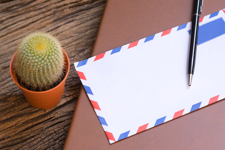 envelop: the envelop and the pen and the book on the wooden background table and cactus