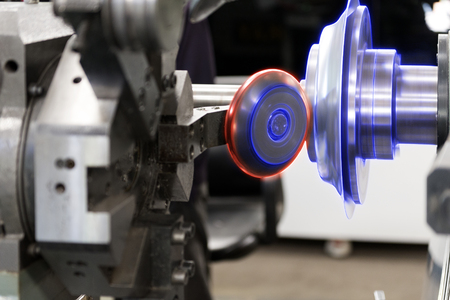 processing speed: The CNC  spinning machine forming the part with the glowing edge lighting effect