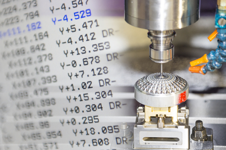 The CNC machine and the NC data scene use micro cutting process with the sample part